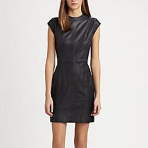 Theory Orinthia L Navy Leather Dress Size 4